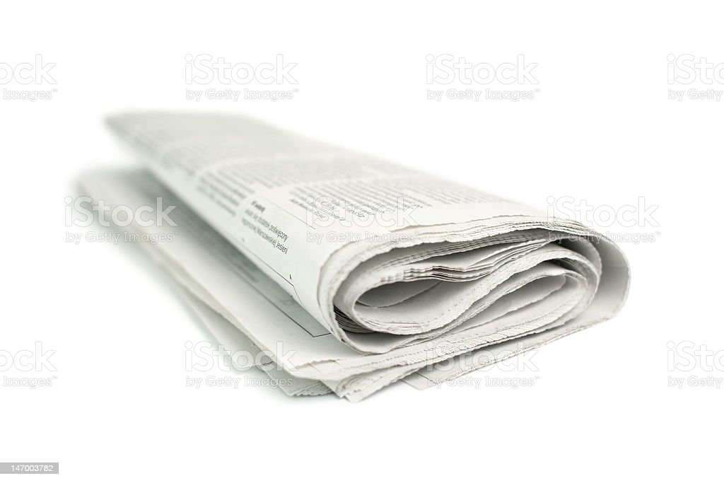 A picture of a newspaper on a white background royalty-free stock photo