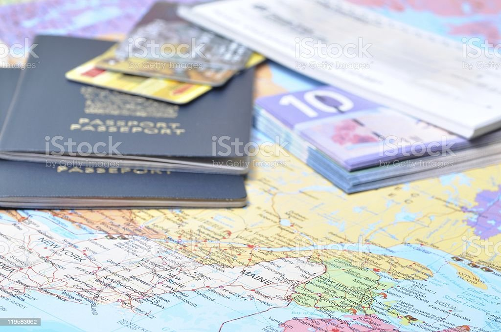 A picture of a passport and travel voucher stock photo