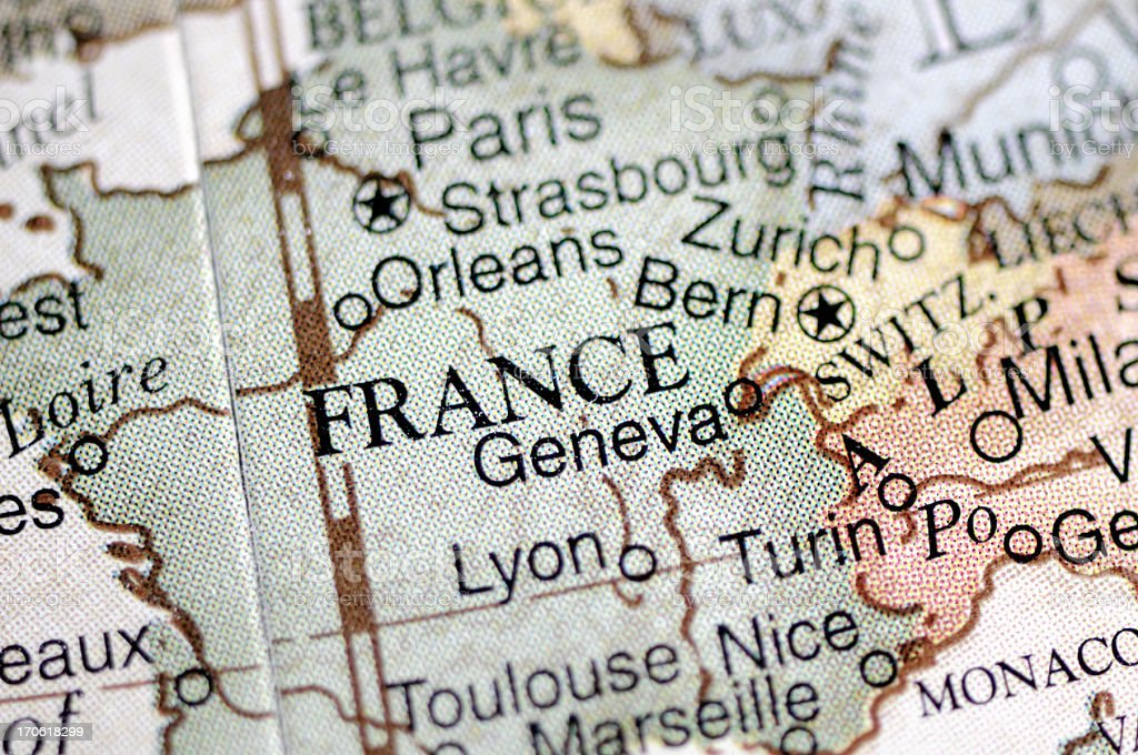Picture of a political map of Europe showing France stock photo