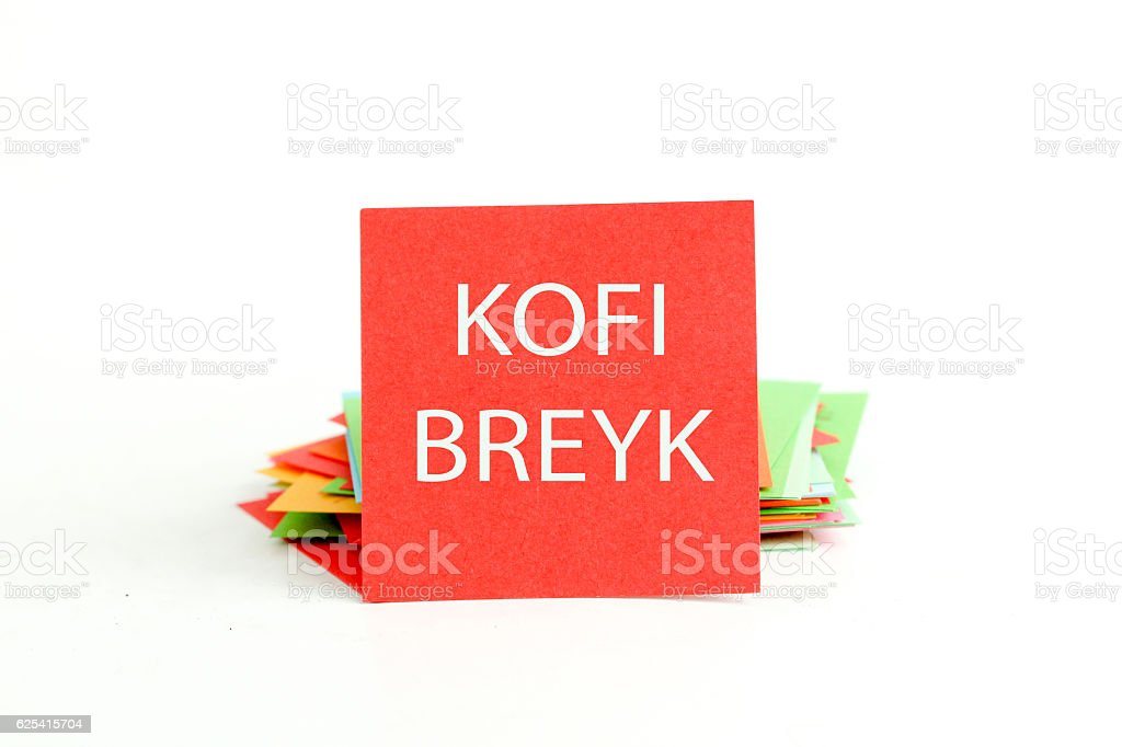 picture of a red note paper with text stock photo