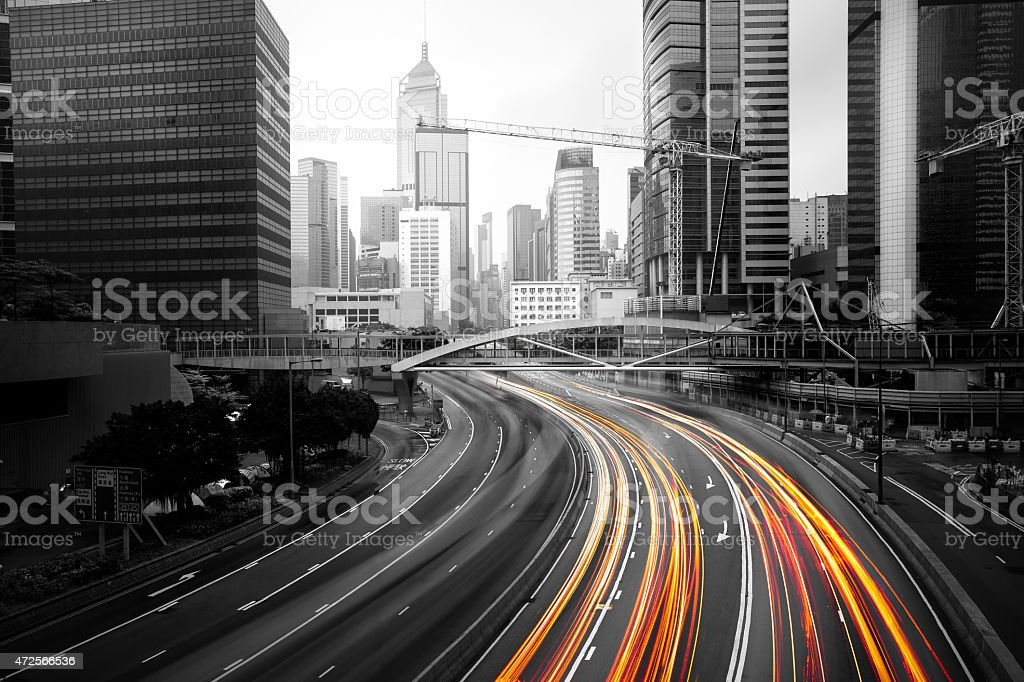 A picture of a road symbolizing speeding traffic stock photo
