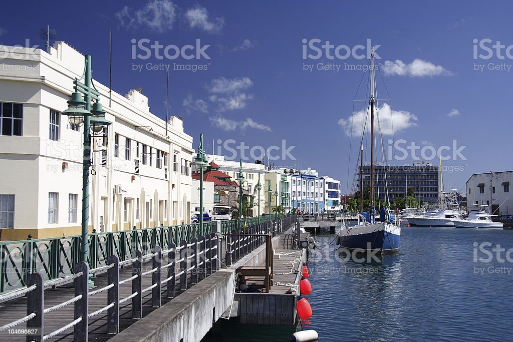 A picture of a seafront surrounded by buildings stock photo