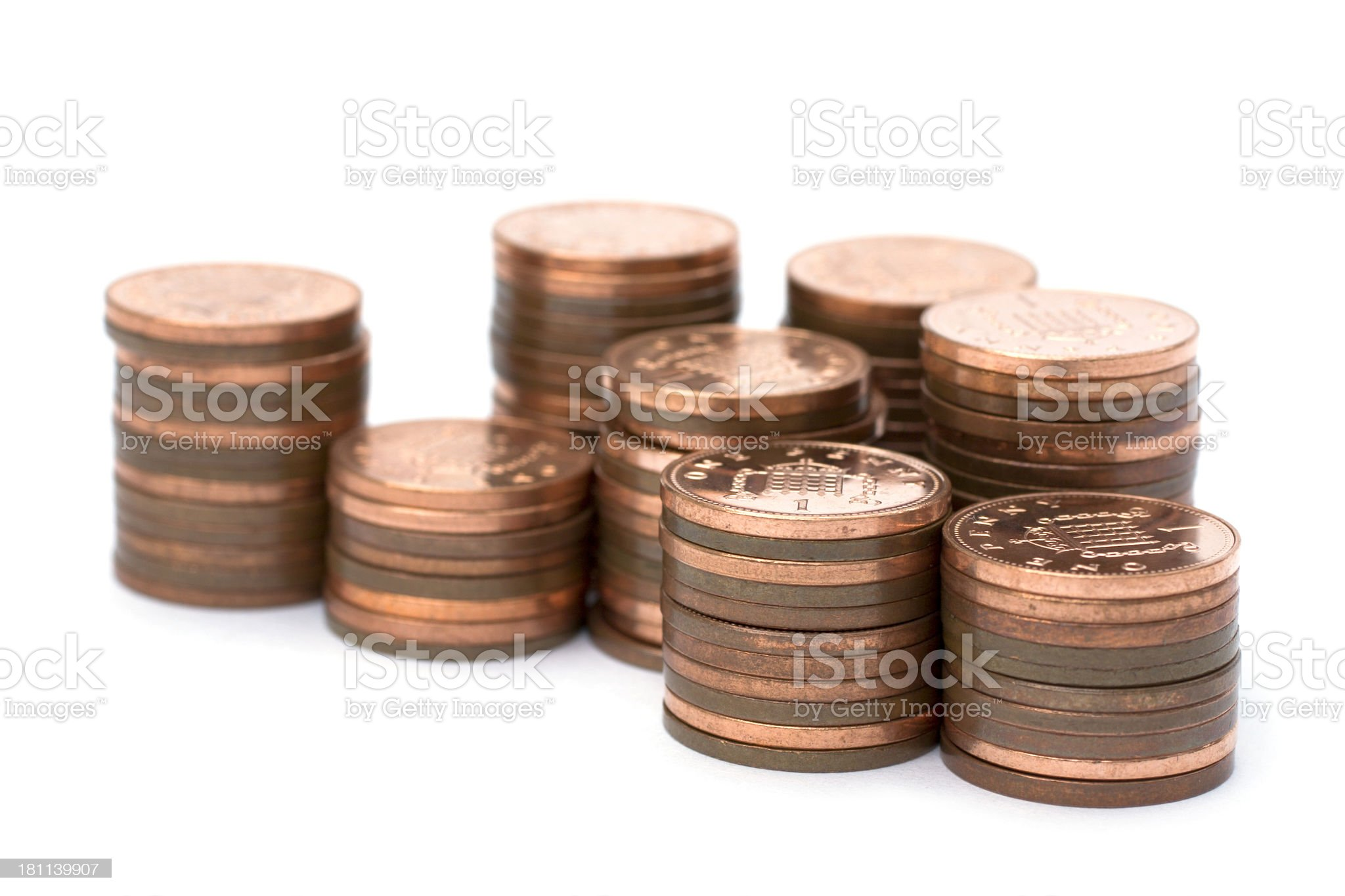 A picture of a stack of one pence pieces  royalty-free stock photo