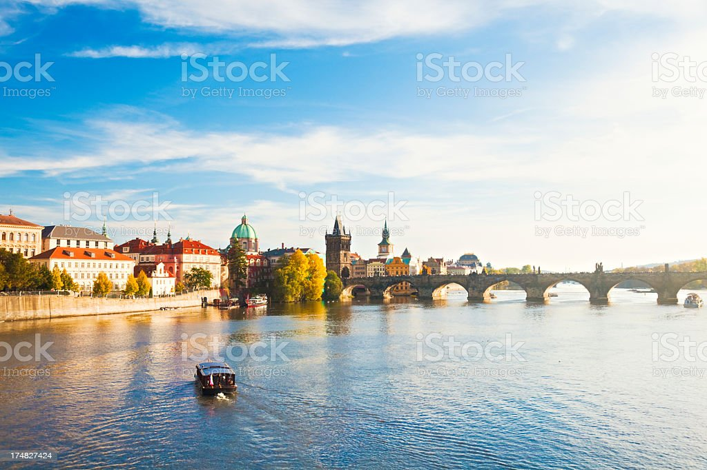 Picture of a sunny day overlooking Charles Bridge in Prague stock photo