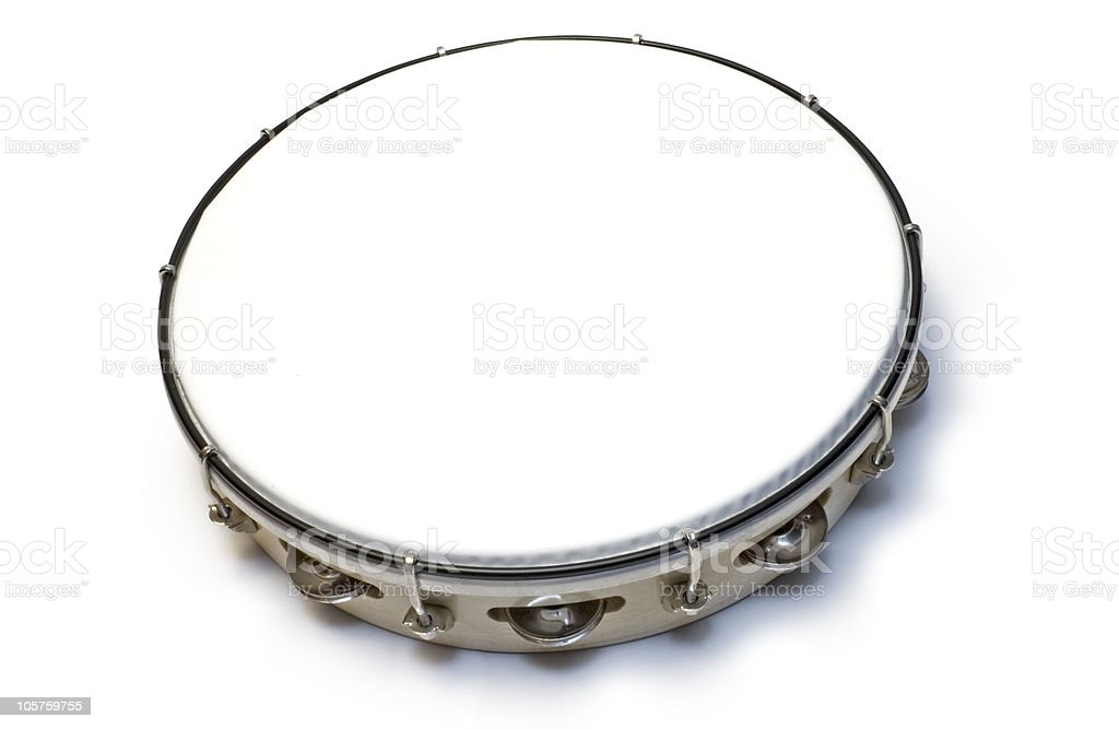 Picture of a tambourine on a white background  stock photo