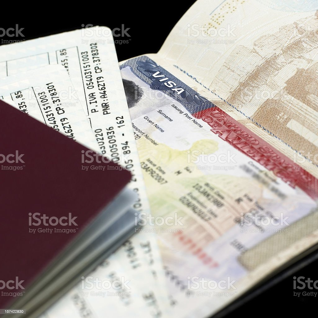 A picture of a wallet with traveling documents stock photo