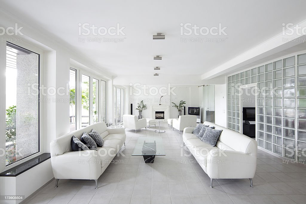 A picture of a white decorated living room royalty-free stock photo