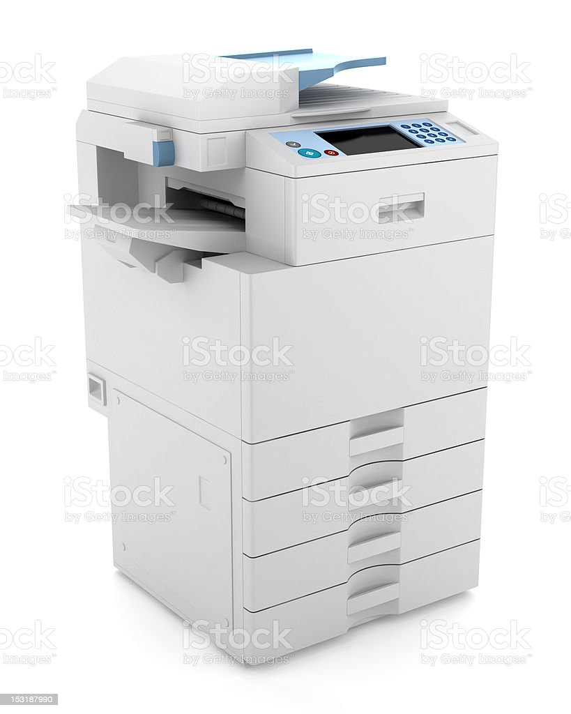 A picture of a white office printer stock photo