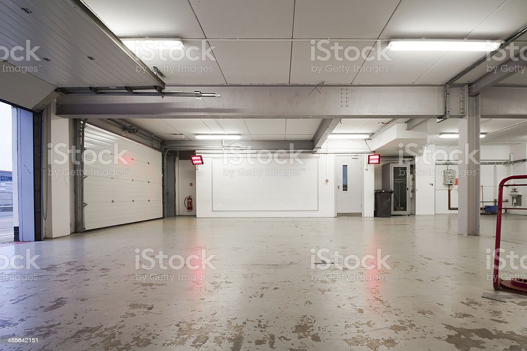 Picture of a wide and empty garage stock photo