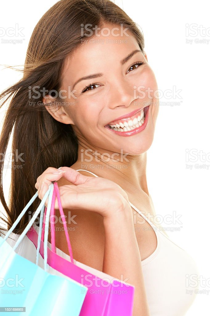 A picture of a woman with shopping bags royalty-free stock photo