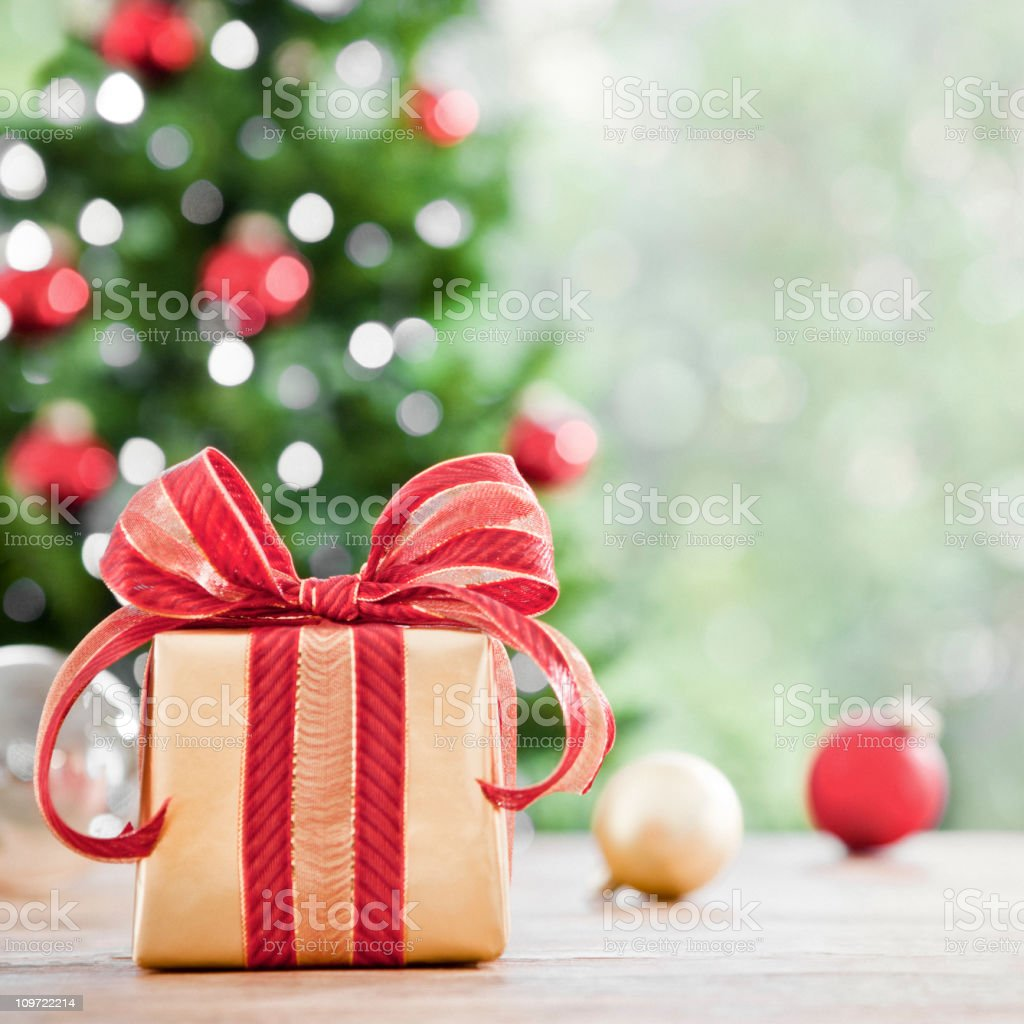 A picture of a wrapped Christmas gift stock photo
