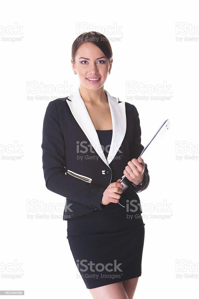 Bild einer jungen attraktiven Geschäftsfrau mit Ordnern Lizenzfreies stock-foto