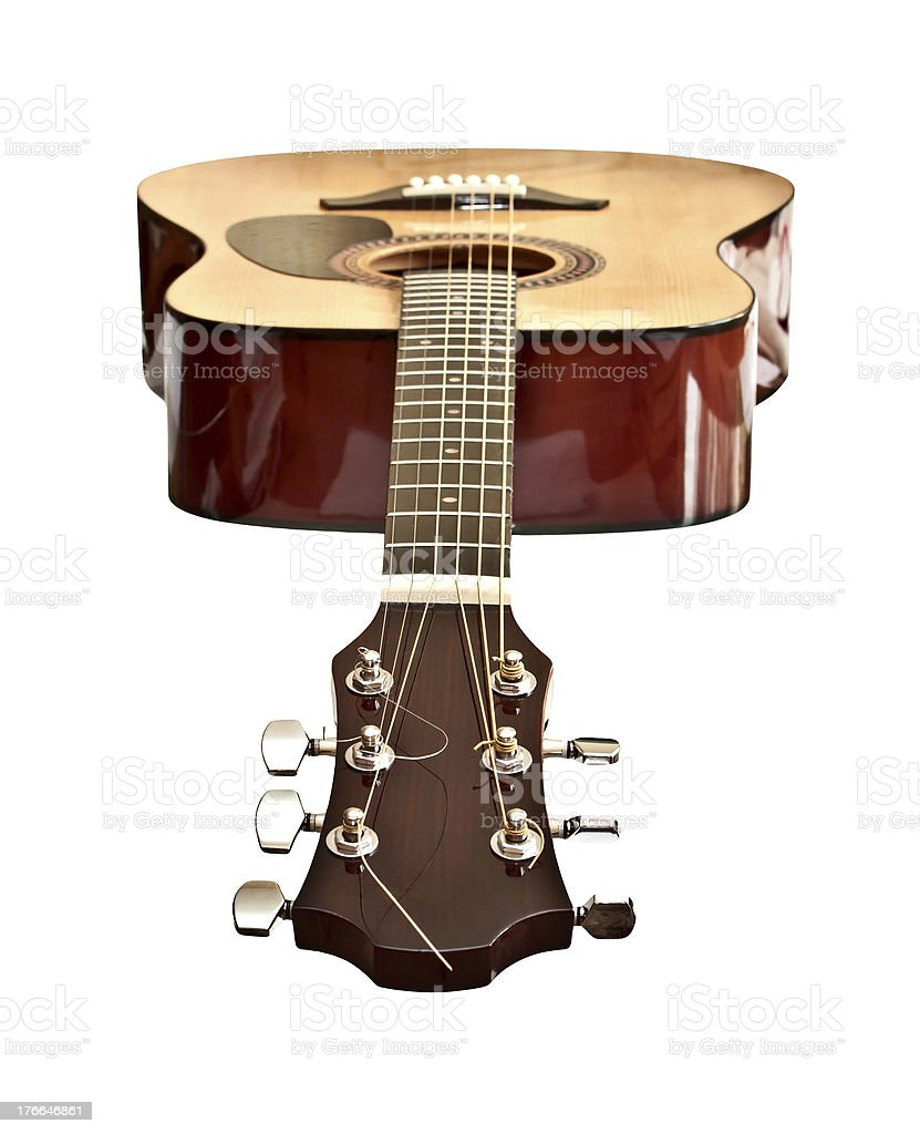 Picture of acoustic guitar, isolated on the white background royalty-free stock photo