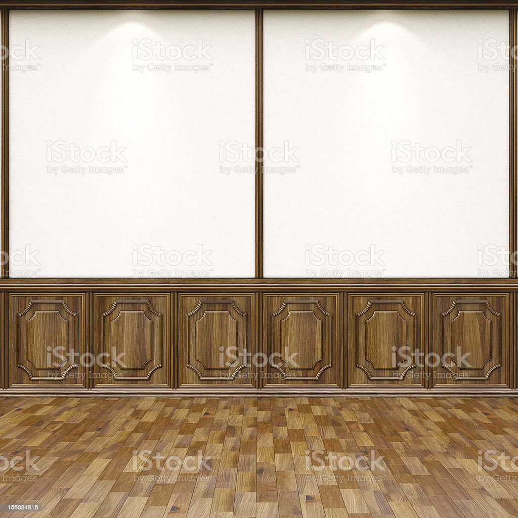 Picture of an interior room with brown flooring stock photo