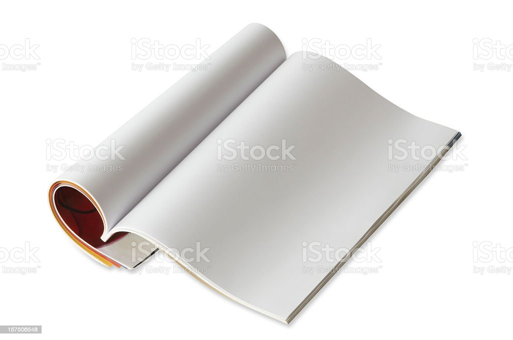 A picture of an open blank magazine stock photo