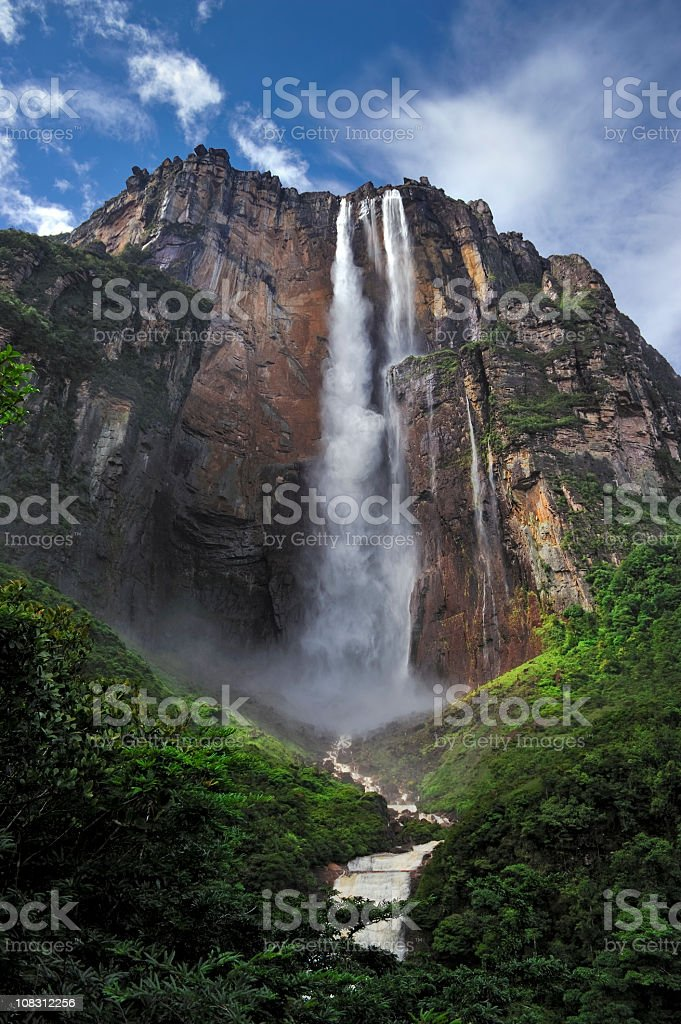 Picture of Angel Falls, taken from below looking up stock photo