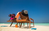 Picture of Beach lounger on the tropical beach, vacation.