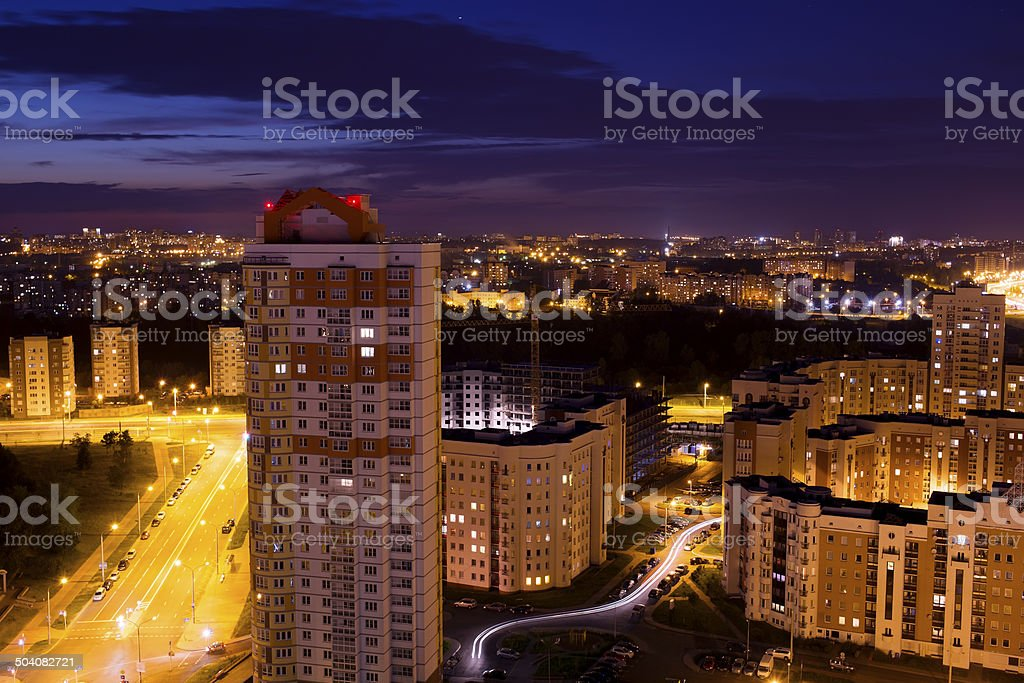 picture of beautiful colorful night Minsk city stock photo