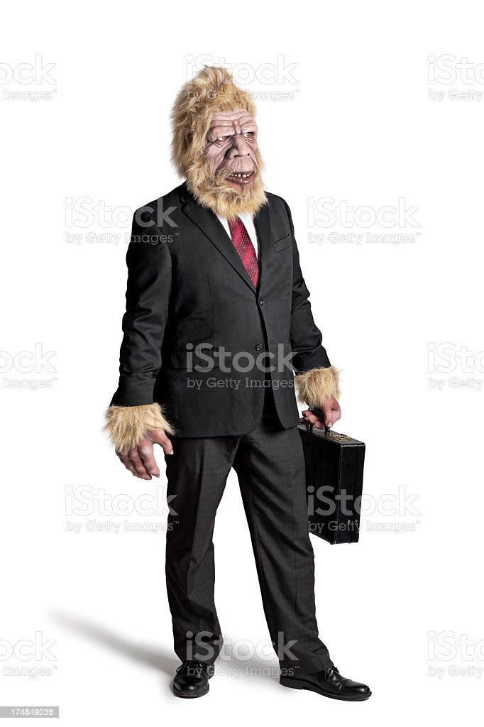 A picture of Bigfoot in a suit stock photo