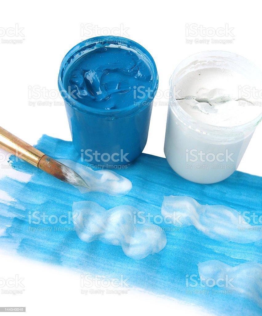 Imagem do céu azul com nuvens (escova e Guache foto de stock royalty-free