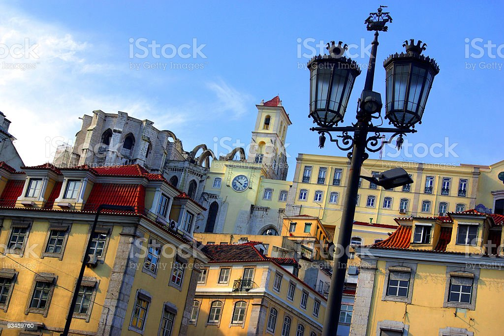 Picture of buildings and a lamppost in Lisbon stock photo