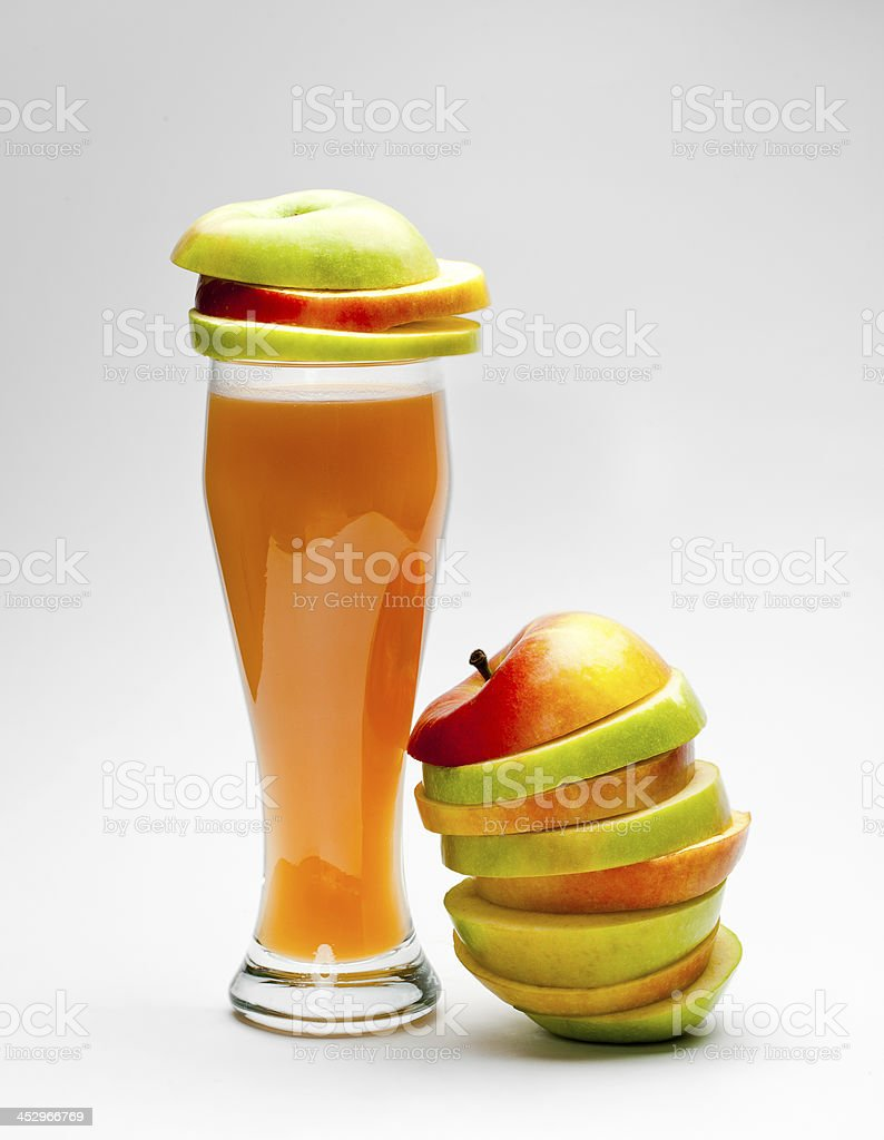 Picture of chopped apples and apple juice royalty-free stock photo