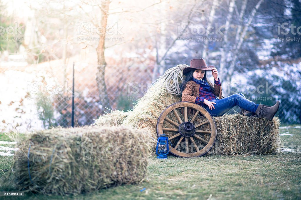Picture of cute girl in a horse carriage with hay stock photo
