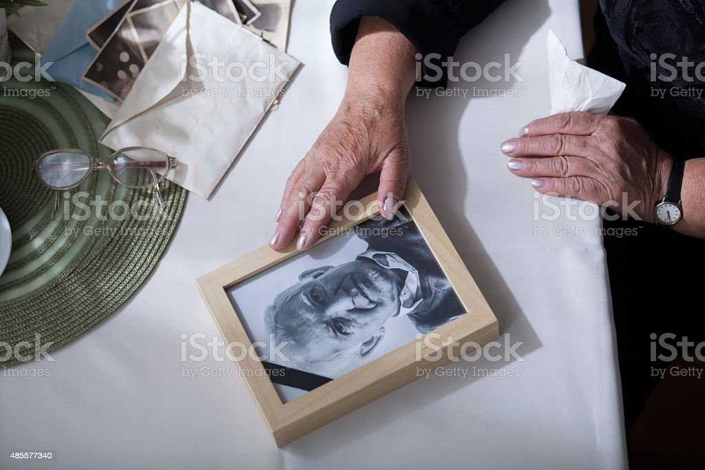 Picture of dead husband stock photo