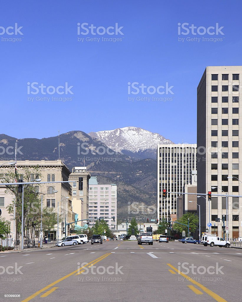 A picture of downtown Colorado Springs on a clear day stock photo
