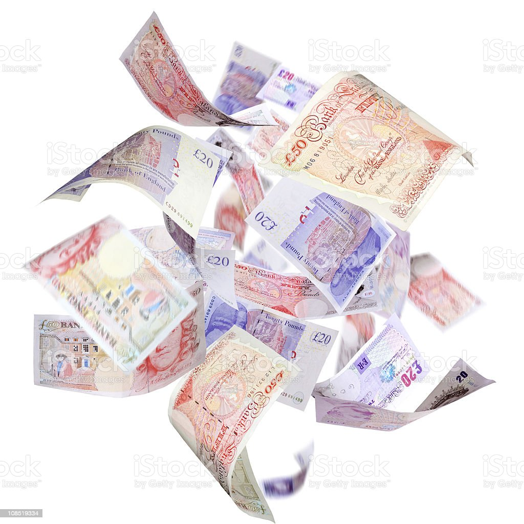 Picture of flying 20 pounds notes on white background stock photo