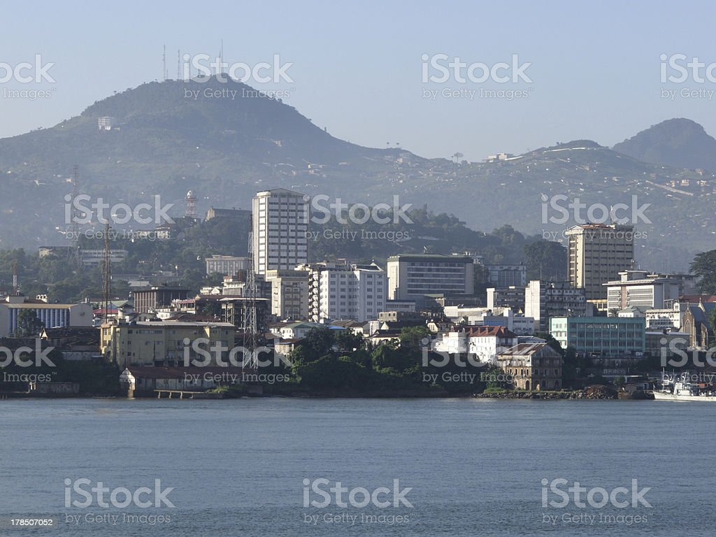 Picture of Freetown skyline from across the river stock photo
