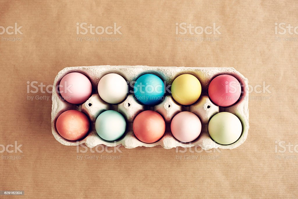 Picture of full painted egg box stock photo