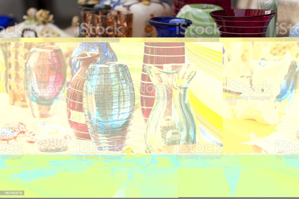 Picture of glass vases interrupted by yellow rectangle stock photo