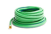 A picture of green rolled up water hose