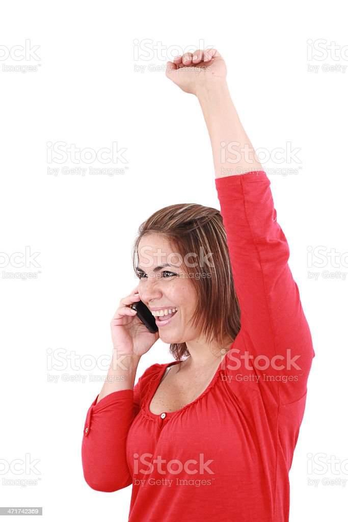 picture of happy woman with cell phone royalty-free stock photo