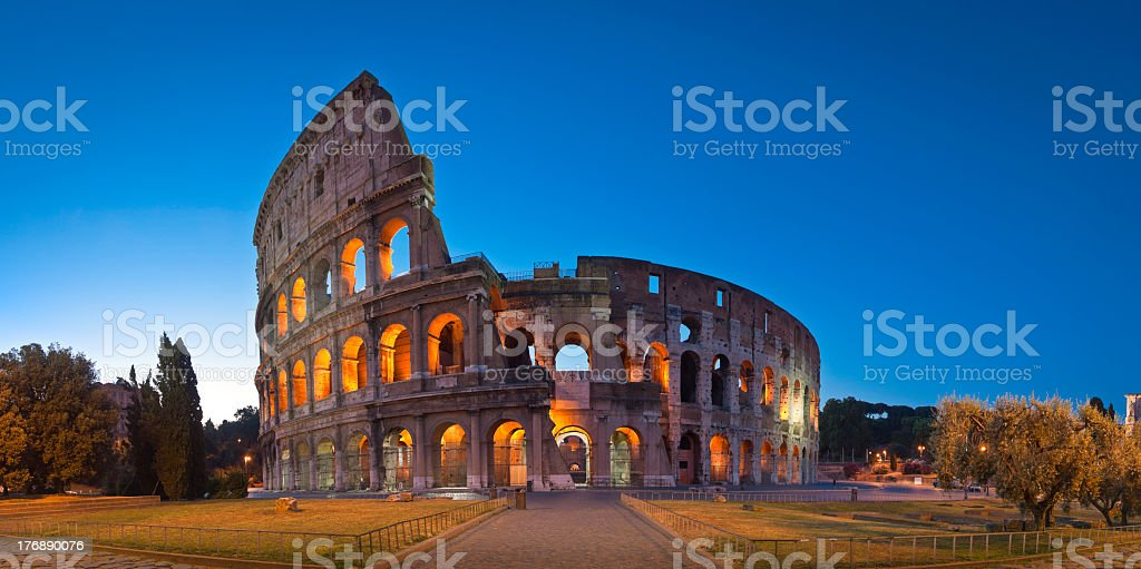 Picture of lighted Colosseum in Rome stock photo