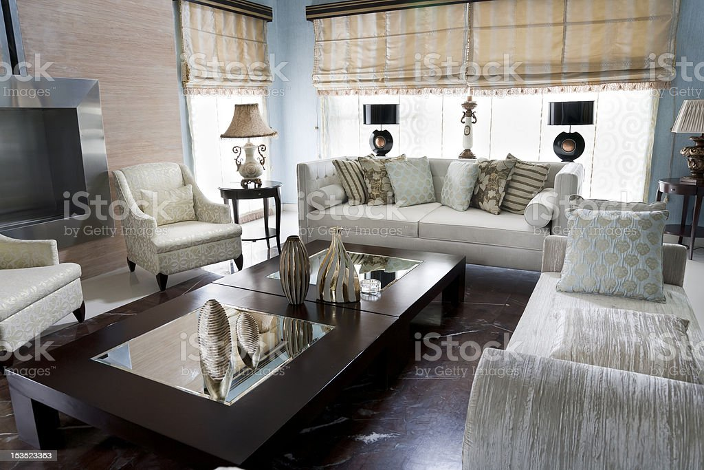 Picture of living room with coffee table and sofa royalty-free stock photo
