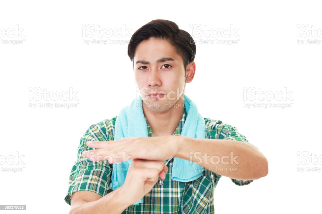 Picture of man gesture time out stock photo