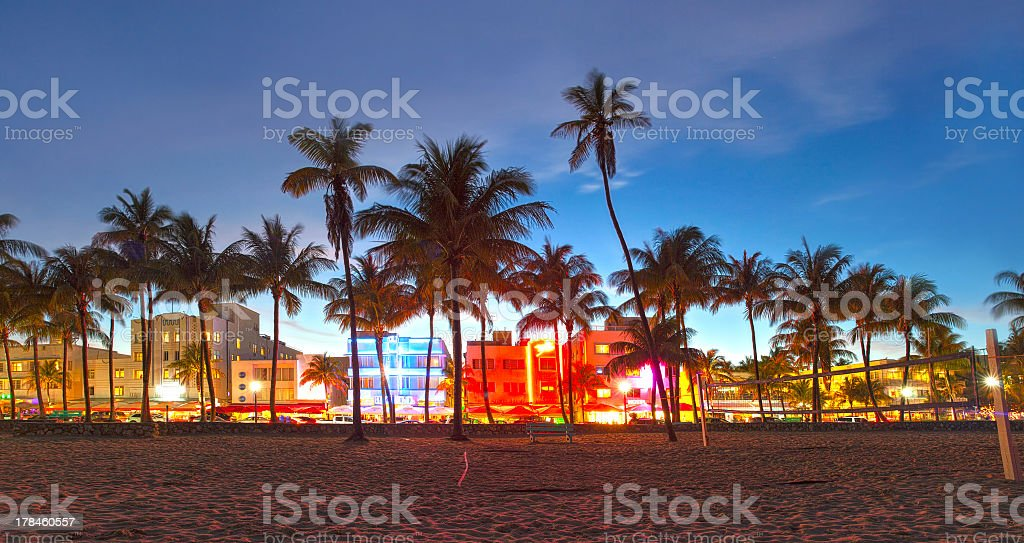 Picture of Miami Beach, Florida at sunset stock photo