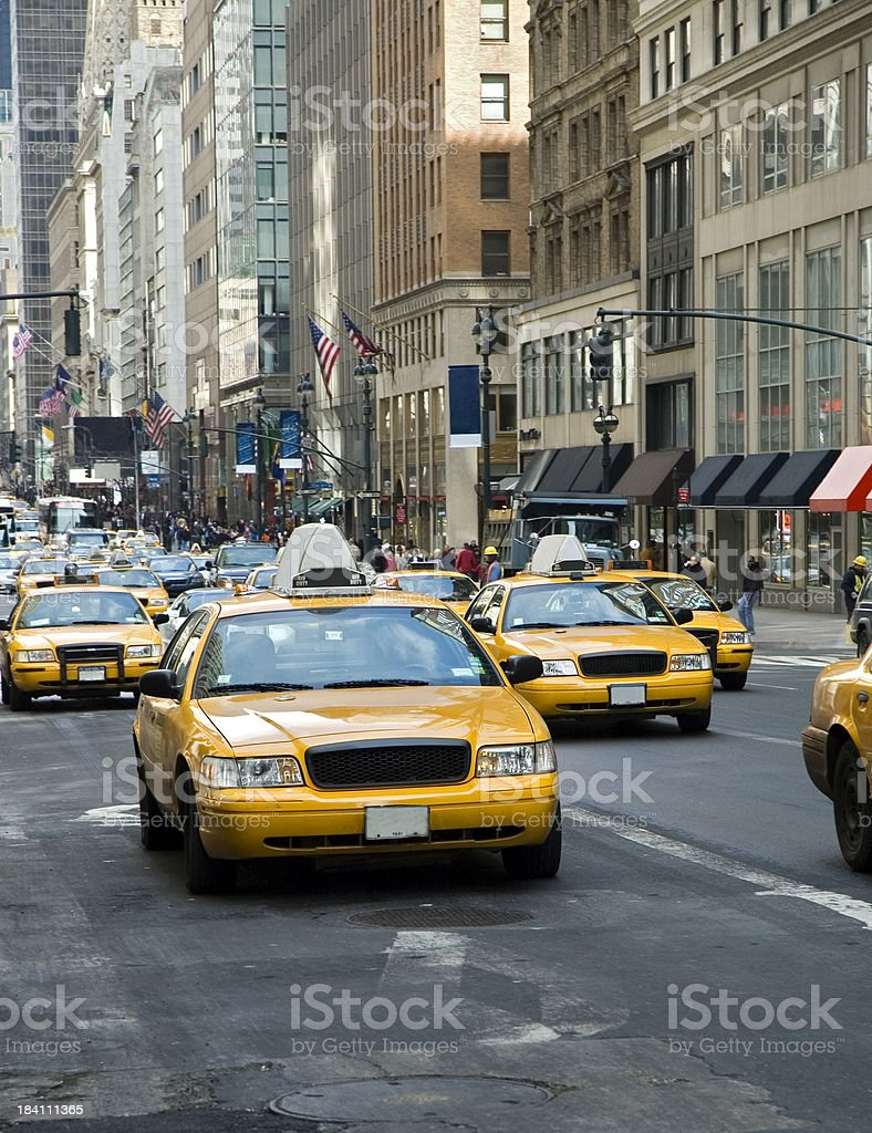 picture of oncoming yellow taxi cabs in New York royalty-free stock photo
