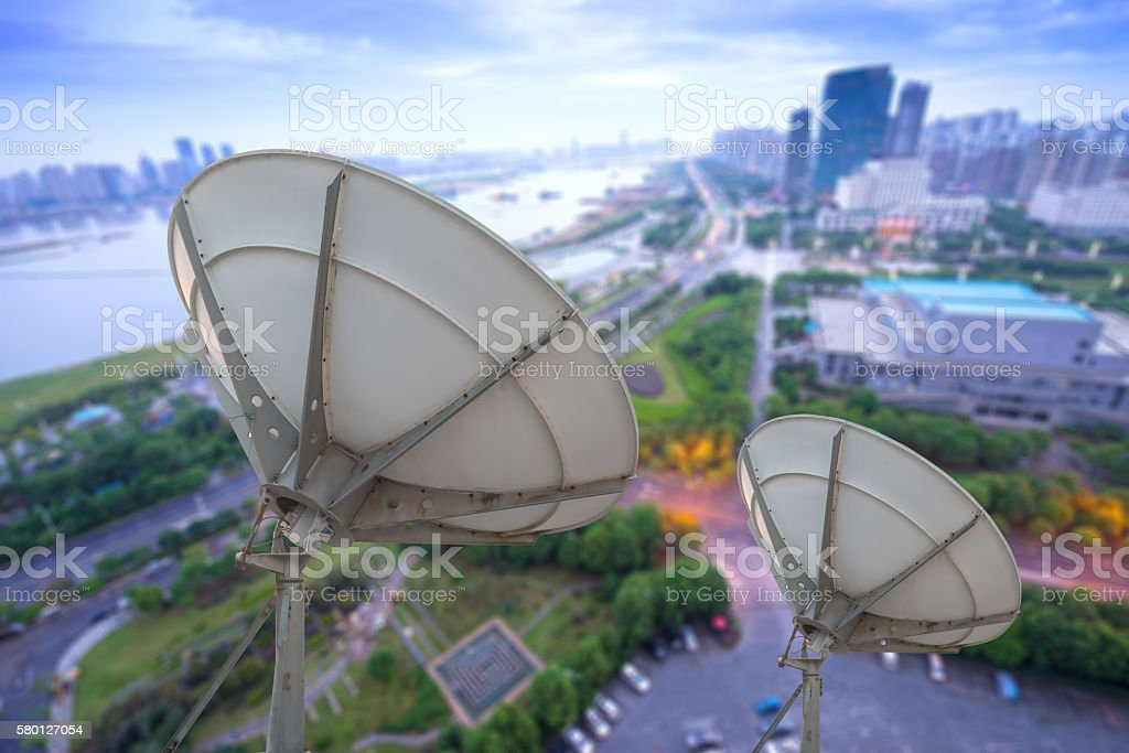 picture of parabolic satellite dish space technology receivers stock photo