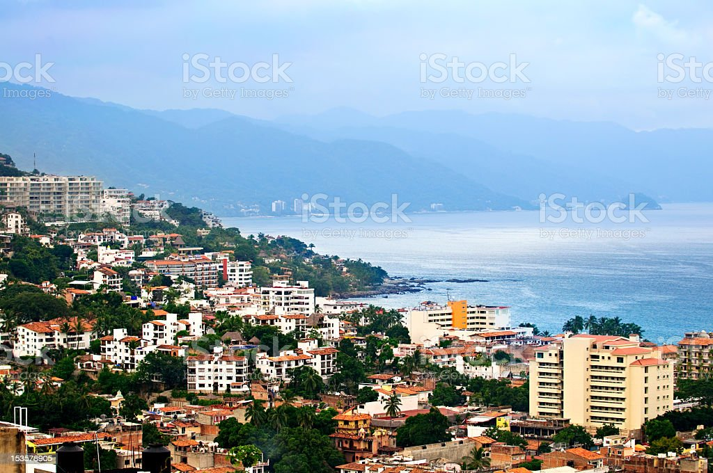 Picture of Puerto Vallarta in Mexico with beach on the back stock photo