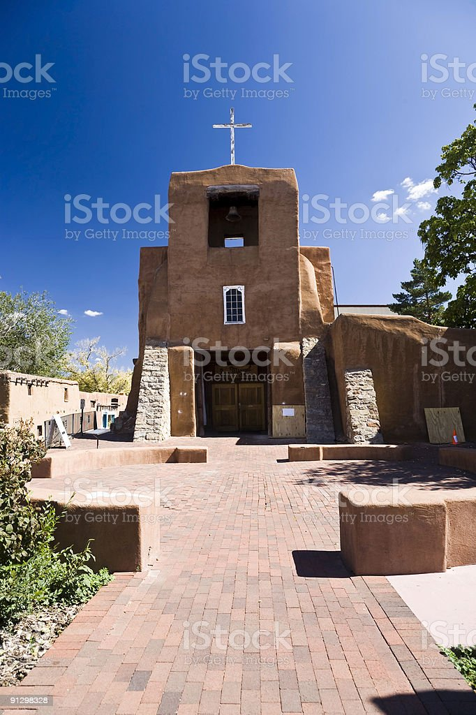 A picture of San Miguel Church on a sunny day stock photo