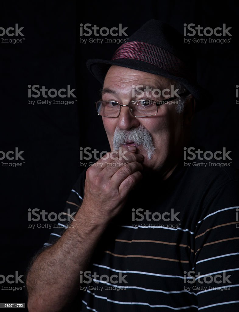 picture of senior man with mostache stock photo