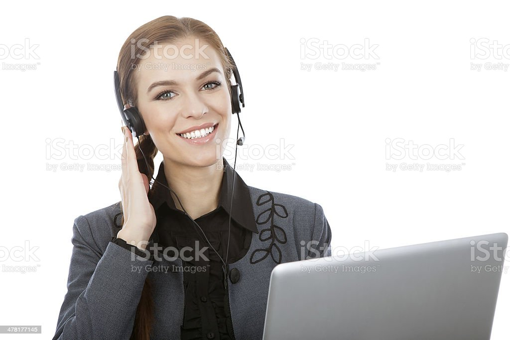 Picture of smiling female helpline operator with headphones royalty-free stock photo
