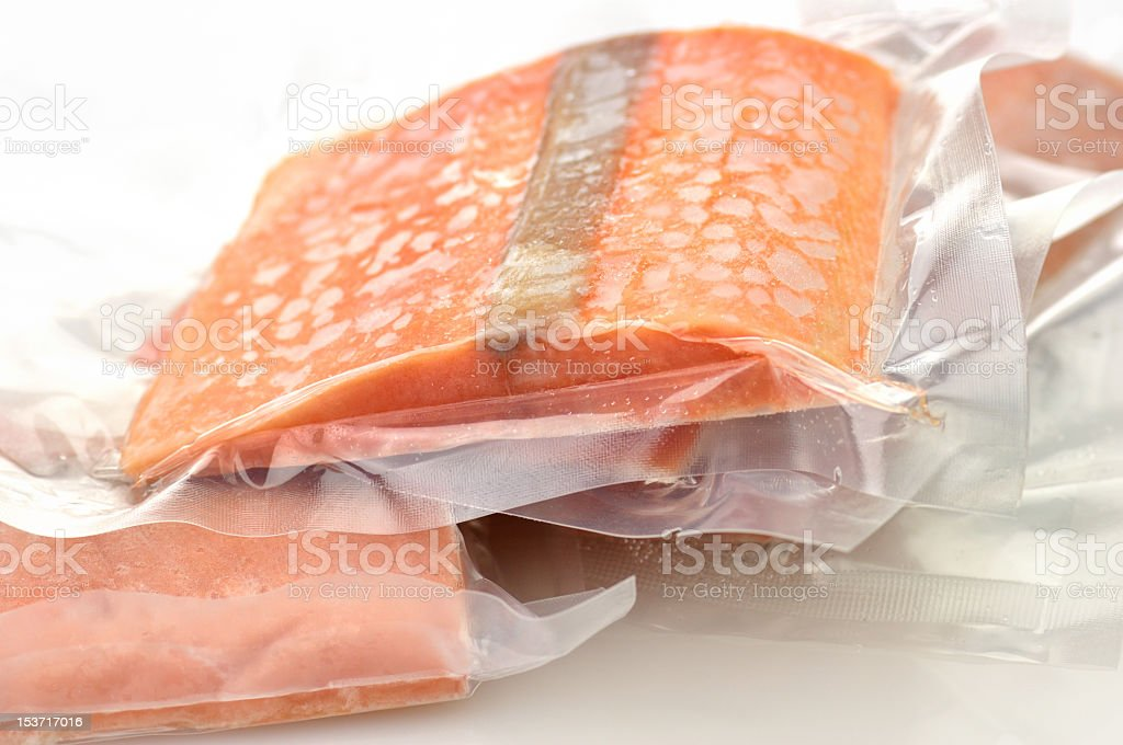 A picture of some pink, bagged salmon royalty-free stock photo