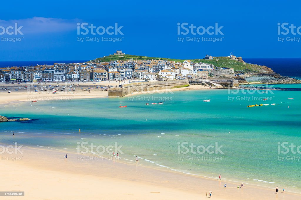 Picture of the beach in St Ives Cornwall England stock photo