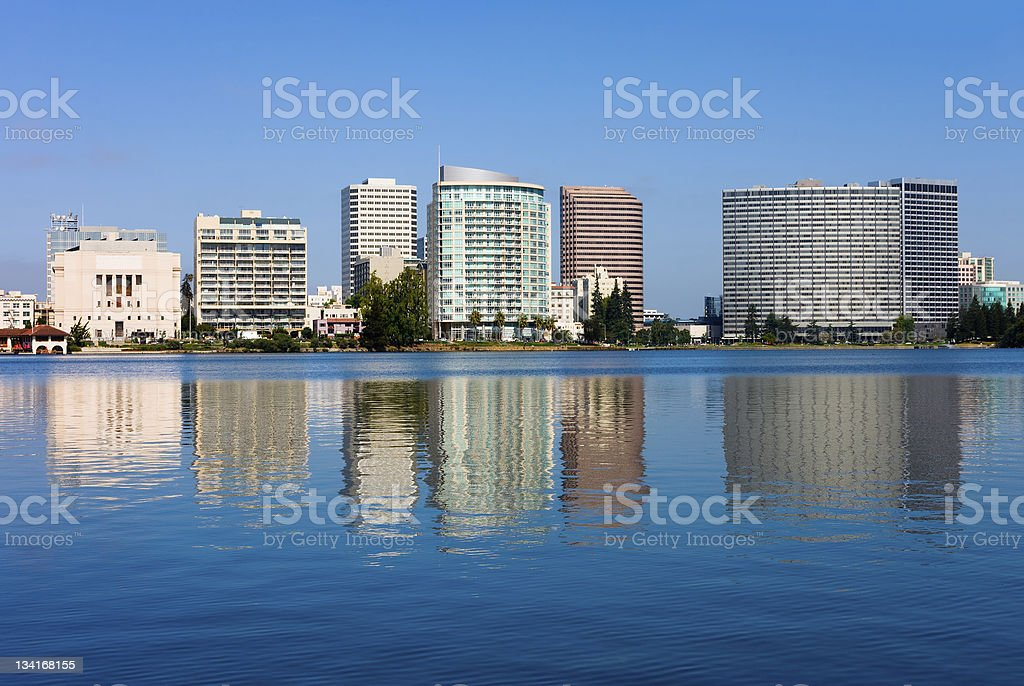 A picture of the buildings with ocean in Oakland, California stock photo