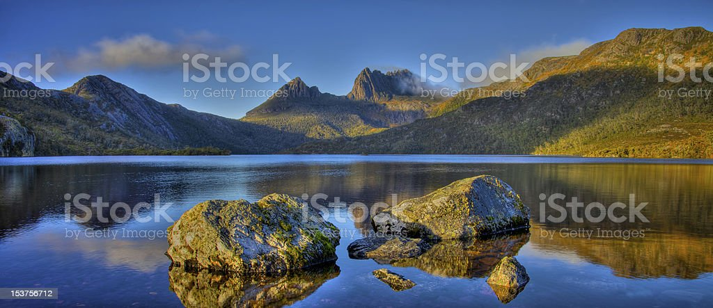 Picture of the crystalline Dove Lake and Cradle Mountain stock photo