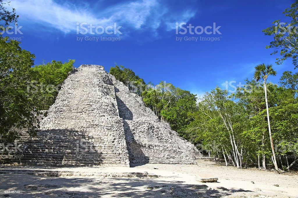 A picture of the Nohoch Mul pyramid in Coba stock photo